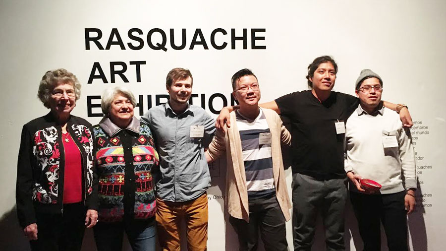 Artists whose work is included in the Rasquache Art Residency exhibition at Sofia Quintero Art and Cultural Center include (from left) Barbara Winter, Maria Rodriguez-Winter, Matthew Sibley, Hong-Da Chin and Federico and David Cuatlacuatl.