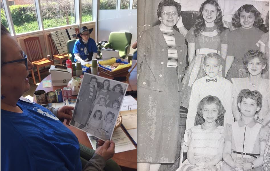 Group member Sue Strasel holds a photo of her and Sue Terrill, pictured as children at Libbey Elementary School in the '60s. Strasel is pictured at top right, Terrill is bottom left.