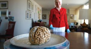 Dr. Marian Diamond, focus of the documentary My Love Affair With The Brain, affixes her gaze on the object of her life's affection.
