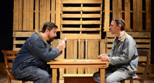 "(L-R) Heath Huber and Brad Smith as Lennie and George in the Toledo Rep's production of ""Of Mice and Men."" ""I like to pride myself on not approaching the process with set ideas on how the characters should look,"" director Sonia Perez said."