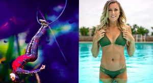 From spider to bikini babe: Alanna Baker. (Photo Credit: instagram.com/alannabaker, with photo on the right from krazedphotography.com)