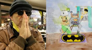 """New works by Steven J. Athanas introduce the imagined characters with watercolor, ink and """"pomes""""— the artist's unique form of poetry. On the left, 'Batman's Gramma.'"""