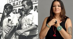 On the left, Baldemar Velásquez and César Chávez in a march for migrant worker rights in 1984. On the right, Sandra Cisneros.