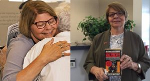 "On the left, Chris Link at her retirement party on June 6. Photos courtesy of Steve Wagner and Terry Gilliam. (acluohio.org/about/history/christine-link). On the right, Link with her favorite banned book: ""The Autobiography of Malcolm X."" (facebook.com/ACLUofOhio)."
