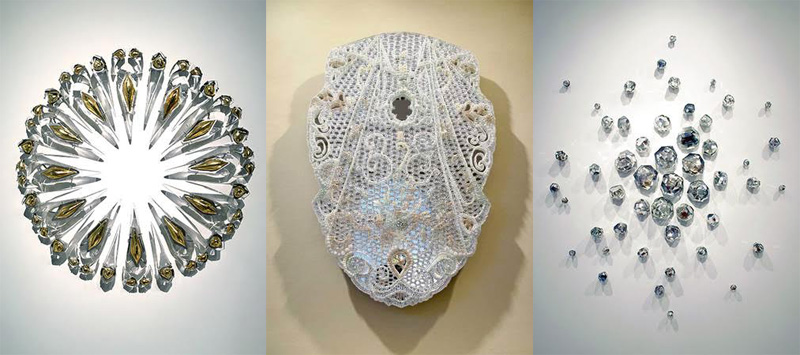 """Separate works from the show. (L-R): Figs and Urns (installation) cast crystal, 24 karat gold mirror, aluminum, varied dimensions; Veil. Water-jet cut mirror fused glass, 36""""x24""""6""""; and Indra's Web (installation) cast crystal, mirror, stainless steel."""