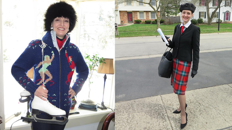 "(LEFT) Winter 2015: Dressed for ""winter sport,"" in vintage 1980s fox fur hat, my grandmother's skates and sweater that she knitted herself, combined with puffy vest and jeggings. (RIGHT) Early spring 2015: Work attire—contemporary bag and (favourite) shoes & gloves, my hat by bMichael (Jacobson's 1998), fitted jacket (from Ann Taylor, 2004), my grandmother's skirt (made by herself, ca. 1950) in our family tartan: Maclaine of Lochbuie, with matching man's tie (I purchased in Scotland in 1998)."