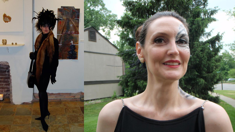 "(LEFT) Fall 2008: Great outfit—but not at all seasonal and taken at a gallery that closed in 2011. Showing my favourite bespoke skirt and my ladylike high heels, black kid gloves, black patent leather MaxMara bag (Jacobson's 2002), 2004 fitted jacket from Ann Taylor, Wolford turtleneck, hat (by bMichael, under the joebillmiller label, from Jacobson's, 1998), vintage mink boa (estate of Joe Ann Cousino). (RIGHT) Summer 2011: Very dramatic, but also very ""costumey."" It's what I wore to Zoo-to-Do that year. (1999 Jacobson's Teen Shop dress, self-painted snow leopard adornment)."