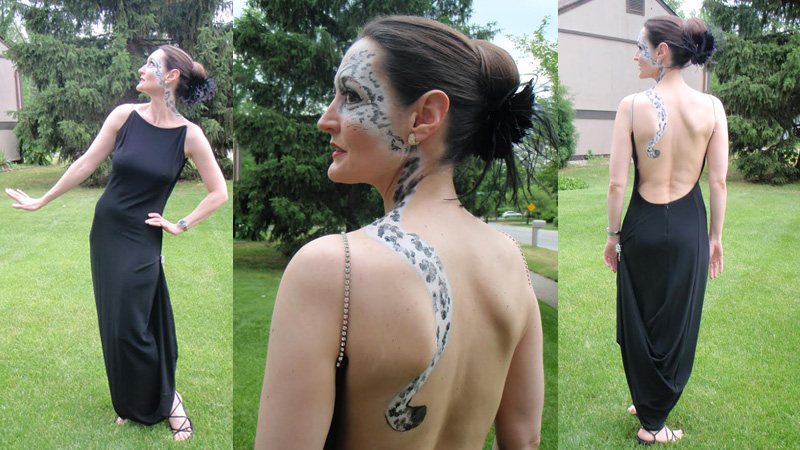 "Summer 2011: Very dramatic, but also very ""costumey."" It's what I wore to Zoo-to-Do that year. (1999 Jacobson's Teen Shop dress, self-painted snow leopard adornment)."