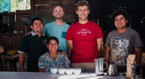 The Diaz family with the Levanta Coffee founders. (Left to right: Daniel Diaz, Maria  Diaz, Robert Durrette, Matt Hohler and Elias Díaz)