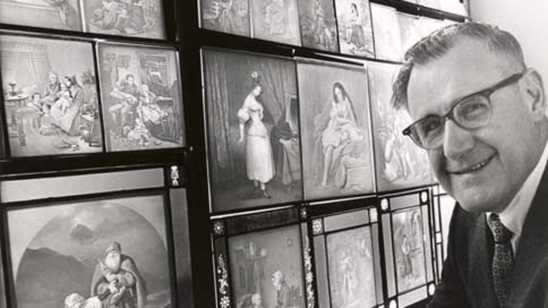 Laurel Blair with a small portion of his lithophane collection, c. 1965. Photo by Steve Warren