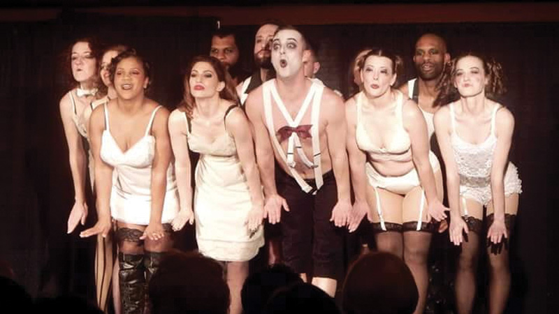 "The cast of ""Cabaret"" in performance last March. Jeffery T. Foor, center, won for Excellence in Musical Performance at the regional OCTA Awards, and the entire cast was recognized for Excellence in Ensemble. Photo Credit: Marisa Mercurio."