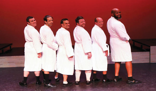 (Left-Right) Christopher Stack, Justin Bays, Louie Torda, David Daniel Smith,  Jeff Buchanan, Charles Walker prepare to show what's under their robes.