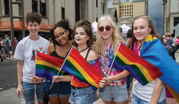 Sam Hamer-Light, Veronica Cook, Lydia Napier, Pyper Keller, and Morgan Wilson celebrate pride during last year's festival.  Photo Credit: Christine Senack, Girl in the Glass City