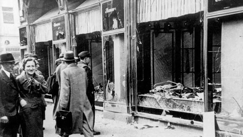 Shop windows and storefronts were completely destroyed during the attack.  Photo Credit: WikiCommons