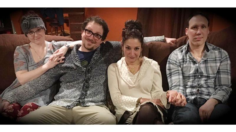 (L-R) Liane Golightly, Greg Kissner, Kate Abu-Absi and Derek Hansen. star in The Realistic Joneses. (Photo Credit: Nancy Wright)