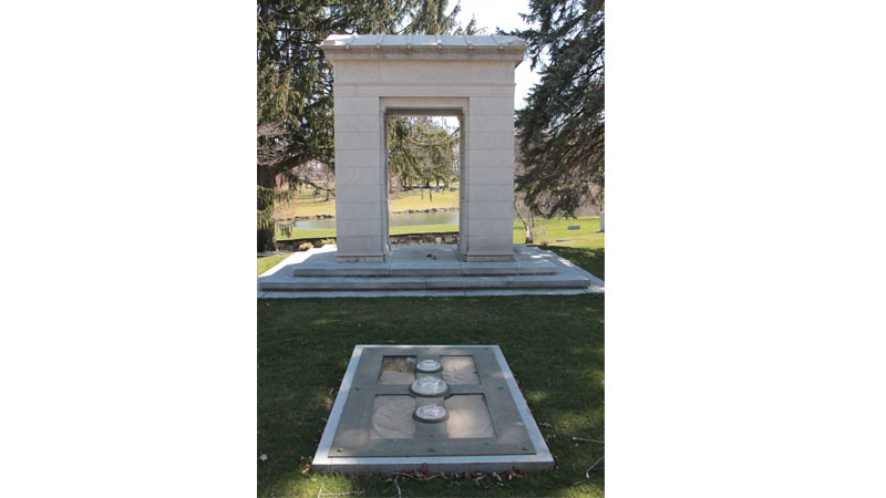 The bronze Libbey monument in front of the Libbey grave at Woodlawn Cemetery is also one of his creations. Photo Credit: Courtney Probert