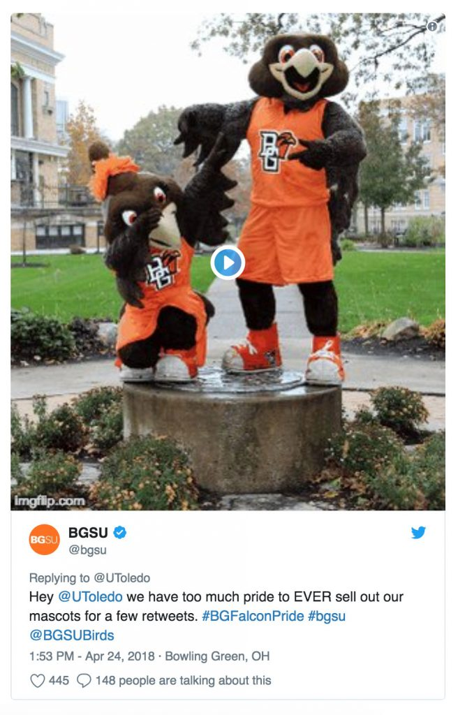 Oh yeah, BGSU? You have too much pride to ever sell out your mascot for a few retreats? Yeah, ok.