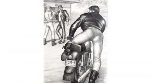 "TOM OF FINLAND (Touko Laaksonen),  Untitled (from Motorcycle Thief series), 1964, graphite on paper, 12.88""x 8.25"", Tom of Finland Foundation  Permanent Collection, ©1964."