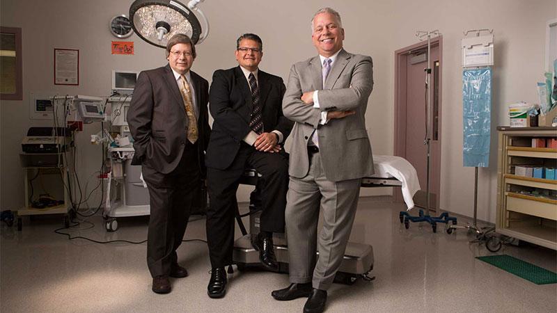 (Left to right): Dr. Laurence Baibak, MD/FACS, Dr. A Thomas Dalagiannis, MD/FACS, Dr. C. Jeff Kesler, MD/FACS, Arrowhead Plastic Surgeons.