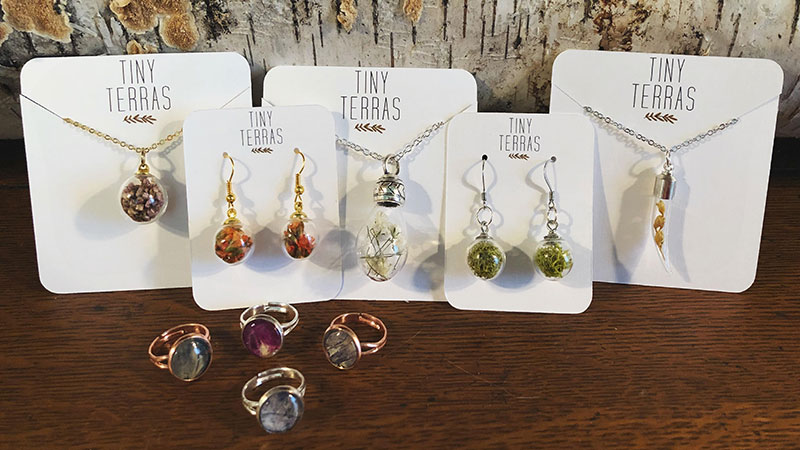 """Jesse's jewelry company, Tiny Terras, will have a booth at the upcoming Maker's Mart (see more on Art Events on P. 26) """"Maker's Mart is such a lovely event, curated perfectly to showcase the area's talented makers. Betty and her team kick butt putting it on twice a year— so go check it out on May 12 and give them a high five!"""""""