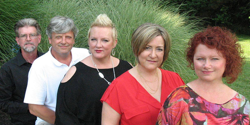 Founded in 2001, the vocal jazz ensemble includes Lori Lefevre (soprano), Kim Buehler (2nd soprano), Lisa Young (alto), Kevin Eikum (tenor) and John Johnson (bass).