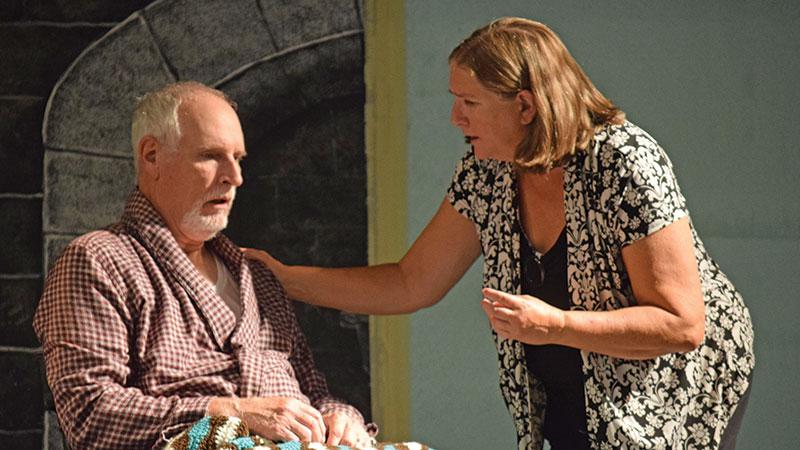 (L-R) Bill McCloskey acts the part of Walter Adams and Mary Kurtz plays Alexandra Stevens.