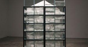 Sean Merchant, Salt Box House, float glass, salt, water, steel, wood