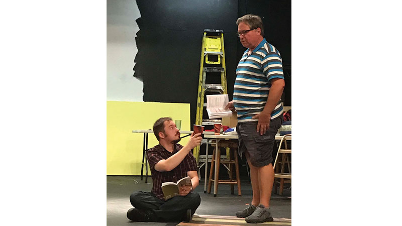 (L-R) Andrew Packard and Lane Hakel as Gabe and his father Wyatt in rehearsals for Things My Mother Taught Me.