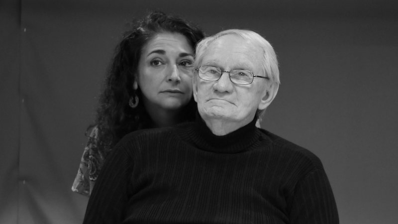 Kate Abu-Absi and Dennie Sherer in Heisenberg, a play by British writer Simon Stephens.