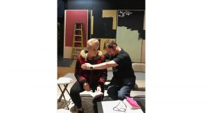 """Photo credit: Barbara Barkan. Thea Grabiec (L) and Andrew Packar rehearse. """"This show has much to say about human interaction, understanding, perception and acceptance,"""" says director Barbara Barkan."""