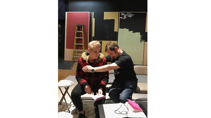 "Photo credit: Barbara Barkan. Thea Grabiec (L) and Andrew Packar rehearse. ""This show has much to say about human interaction, understanding, perception and acceptance,"" says director Barbara Barkan."