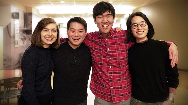 Left to right Logan Sander, Sam Chang, Alex Lim, Ruth Chang