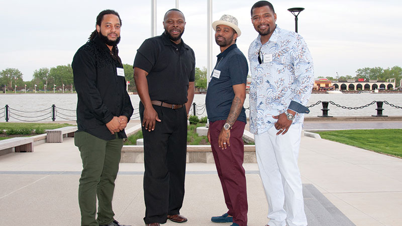(L-R) Corvette Derden, Les Leveque, Emmanuel and Stacey Fletcher at the 2018 Brews and Bro's event on the riverfront.
