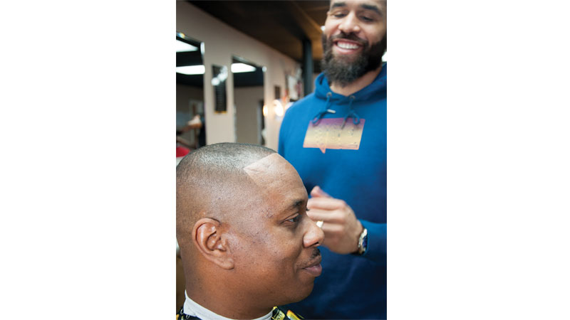 Tawann Gaston with client, Owner of Groomed