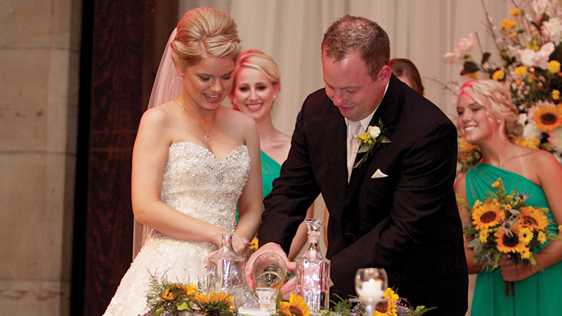 Elizabeth-and-Kyle-Wiley---The-couple-pouring-the-shots-before-the-vows--Photo-by-TY-Photography