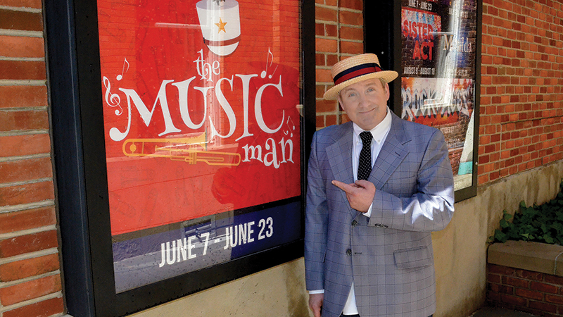 Eric Parker plays Harold Hill in The Music Man at the Croswell Opera House.