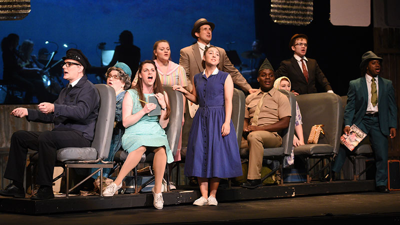 """Violet, played by Jamie Lynn Buechele, and members of the company sing """"On My Way"""" in a scene from """"Violet"""" at the Croswell Opera House. Photo Credit: Vicki Schmucker for wePhoto."""