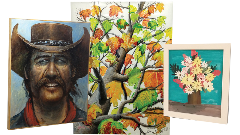 Dave Wisniewski creates iconic representations of the Old West (left). Jeannine Dailey, a former University of Toledo Art Instructor and muralist (middle). Mike Sager, a third-generation artist from Napoleon (right).