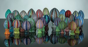 Eggs, Handblown cane (zanfirico) glass eggs by Mike Stevens.