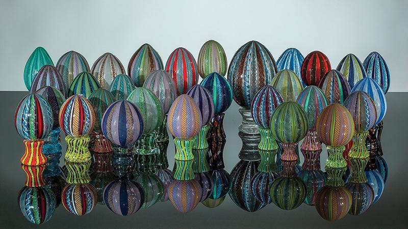 Eggs, Handblown cane (zanfirico) glass eggs by Mike Stevens.