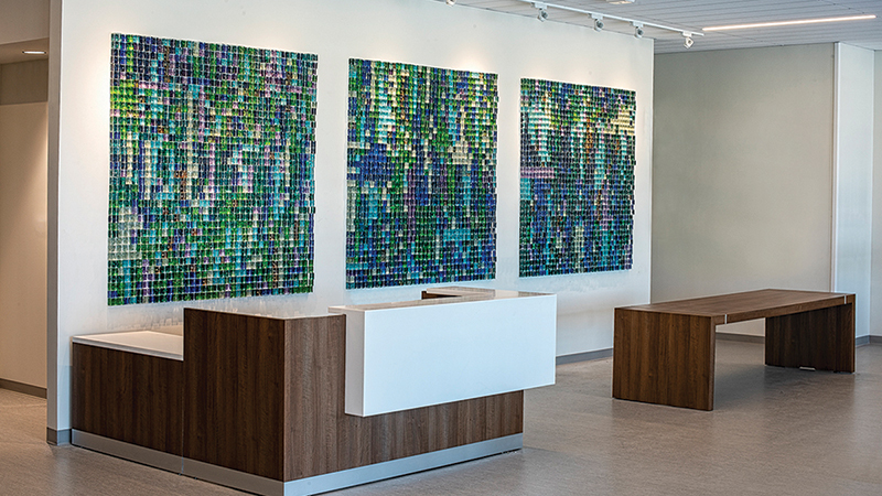 """This large installation is our most recent major project titled Inside Looking Out, located in the Generations Tower at Toledo Hospital. Inside Looking Out consists of 3,888 cast glass cubes that reference windows and utilize colors found in the Northwest Ohio landscape. The colors, scale and arrangement are meant to produce a relaxed and calming effect on the viewer."" — Adam Goldberg, Gathered Co-Owner"