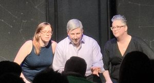 Erin Kanary, Nick Morgan and Diana DePasquale perform for Glass City Improv. The three founded the group together in 2018. Photo courtesy: Diane DePasquale.