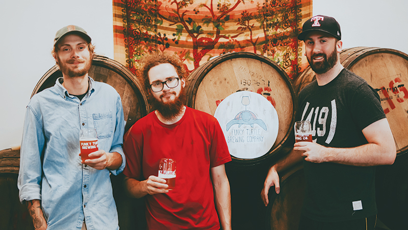 (L-R) Tom Garrison, Drake Pregnal and Troy Secrest bring passion and valuable craft brewing experience to the Funky Turtle Brewing Company. Photo credit: Hannah Bruckner
