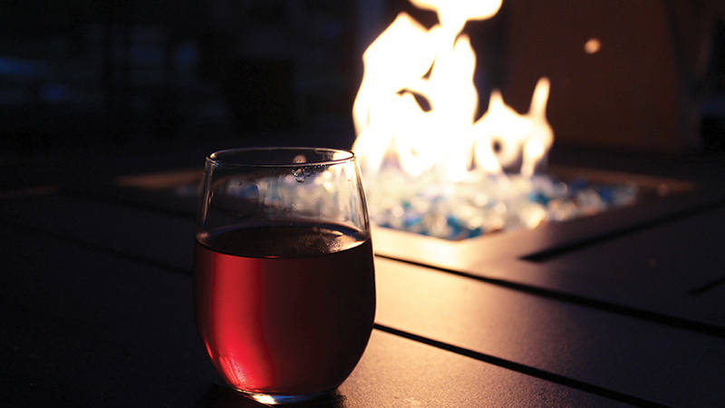 Wine by the fire at Majestic Oak Winery. Photo Credit: Courtney Probert