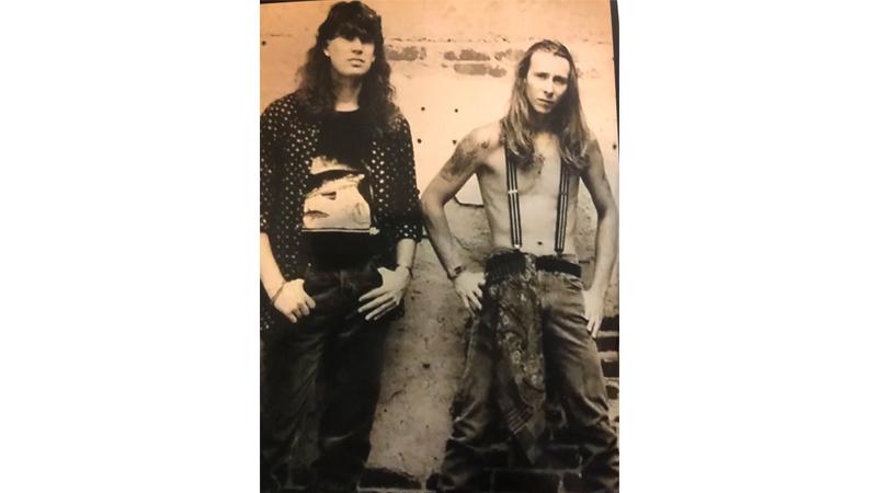 (L-4) Joseph Kondalski and Monk Taylor, circa 1992. Photo Credit: Infinite Art Tattoo Studio.