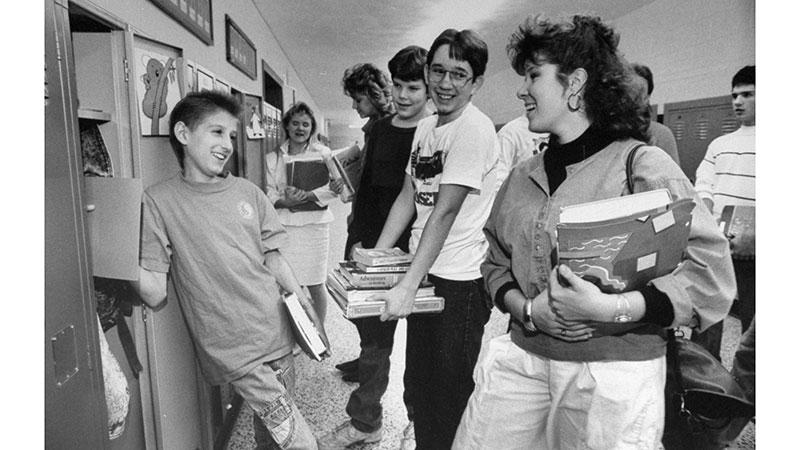 Ryan White with his classmates. Photo courtesy of Britannica.com