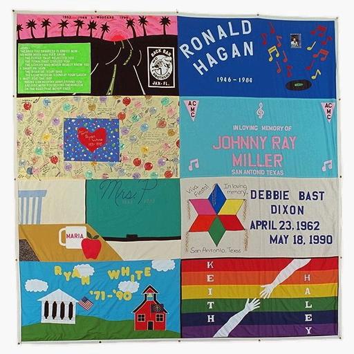 The AIDS Memorial Quilt panels commemorating: John L. Woodard, Ronald Hagan, Ryan White, Johnny Ray Miller, Mrs. P., Debbie Bast Dixon, and Keith Haley.