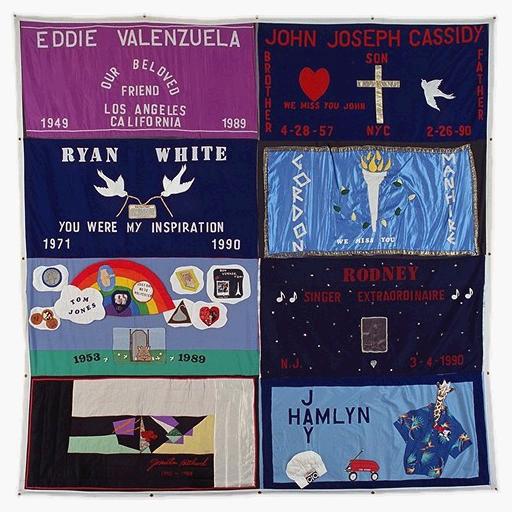 The AIDS Memorial Quilt panels commemorating: Eddie A. Valenzuela, John Joseph Cassidy, Ryan White, Gordon Manhire, Tom Jones, Rodney, Jonathon Hitchcock, and Jay Hamlyn.