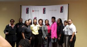 The WPBA team owners and staff. (L-R) Bernell Hooker, Chris Bass, Rasheeda Thomas, Caroline Watson, Aja Williams, Rita Haywood, Tamika Milburn, Sandi Brown, Ernesia Wrights, Barvenia Wooten and Jewell Carter.