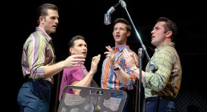 "(L-R) Keith Hines as ""Nick Massi,"" Aaron De Jesus as ""Frankie Valli,"" CJ Pawlikowski as ""Bob Gaudio"" and Corey Greenan as ""Tommy DeVito,"" in Jersey Boys. Photo Credit: Joan Marcus."